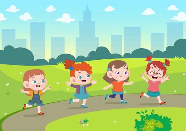 Kinderen spelen samen in de tuin vectorillustratie Premium Vector