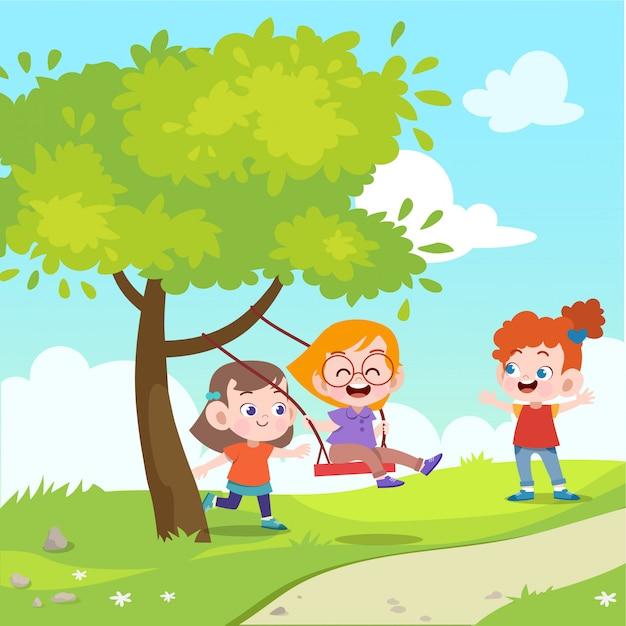 Kinderen spelen schommel in de tuin vectorillustratie Premium Vector