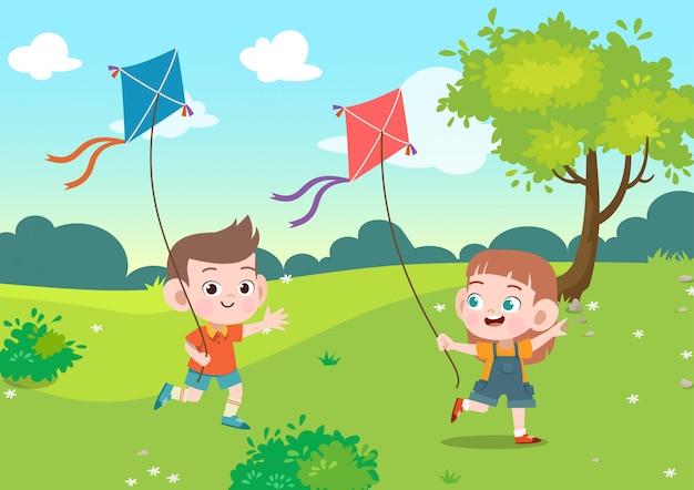 Kinderen spelen vlieger samen in de tuin vectorillustratie Premium Vector
