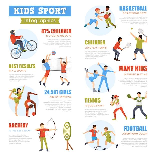 Kinderen sport infographics set Gratis Vector