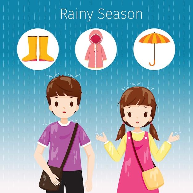 Kinderen staan samen in de regen, hun lichaam nat, regenseizoen Premium Vector