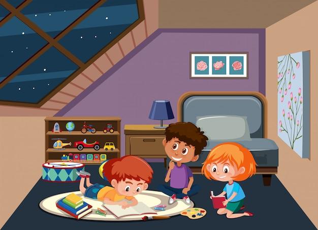 Kinderen studeren in de slaapkamer Premium Vector