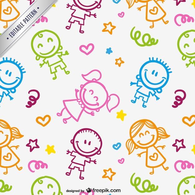 Kinderen tekeningen patroon Gratis Vector