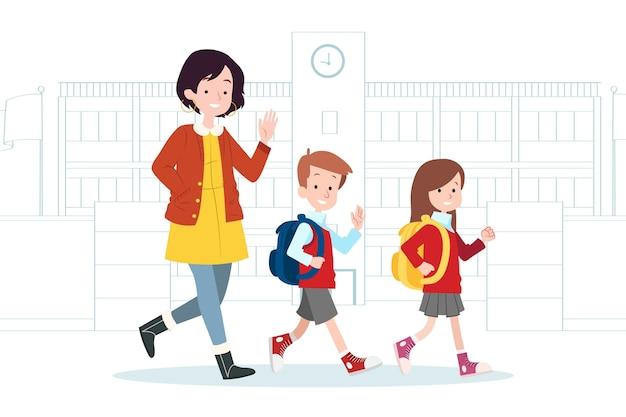 Kinderen terug naar school met ouders illustratie Premium Vector