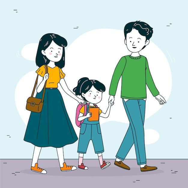Kinderen terug naar school met ouders illustratie Gratis Vector
