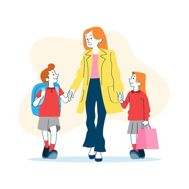 Kinderen terug naar school met ouders Gratis Vector