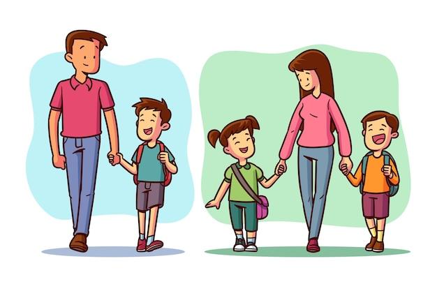 Kinderen terug naar school met ouders Premium Vector