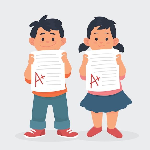 Kinderen tonen papieren testresultaten Premium Vector