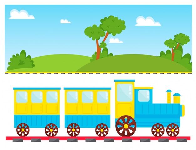 Kinderen trainen vector cartoon speelgoed met kleurrijke locomotief blokken spoorweg vervoer spelplezier Premium Vector