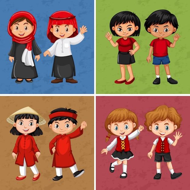 Kinderen uit verschillende landen Gratis Vector
