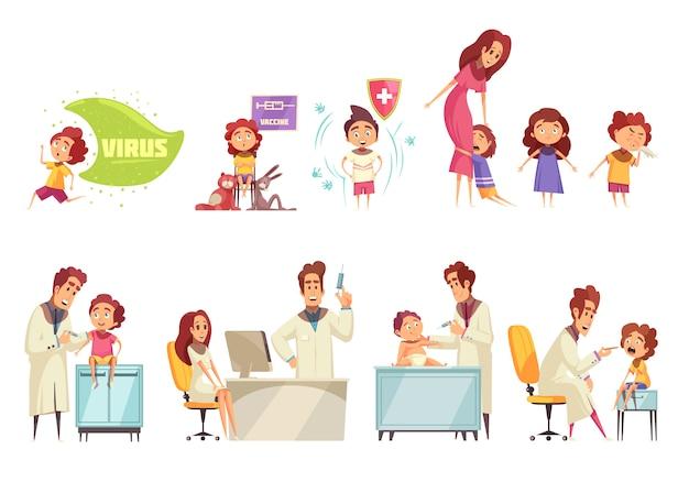 Kinderen vaccinatie decoratieve illustratie set met artsen en ouders die hun kinderen brengen om het vaccin plat te ontvangen Gratis Vector