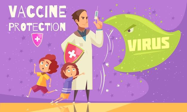 Kinderen vaccineren tegen virusinfecties voor een effectieve ziektepreventie gezondheidszorg promotie cartoon Gratis Vector