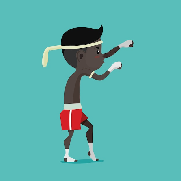 Kinderen van thai boxing (muay thai), vector cartoon Premium Vector