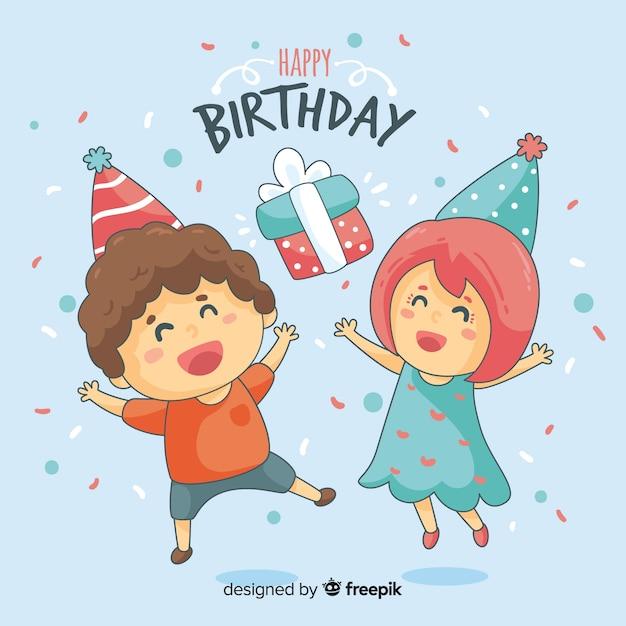 Kinderen verjaardag achtergrond Gratis Vector