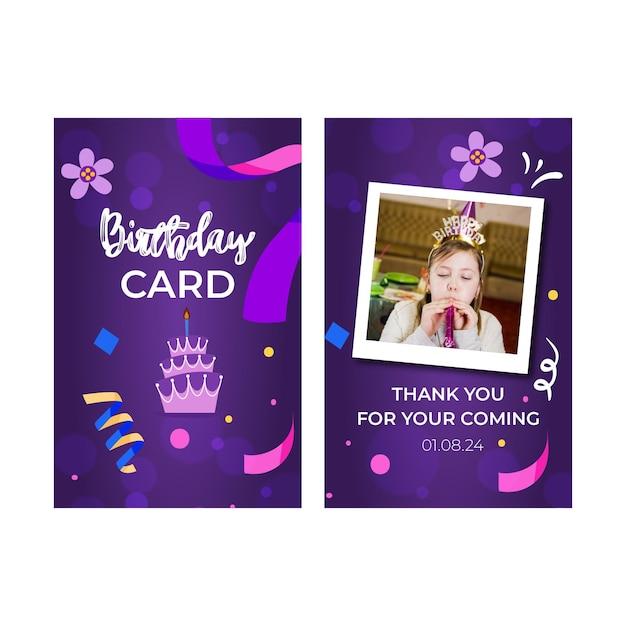 Kinderen verjaardag kaartsjabloon Premium Vector