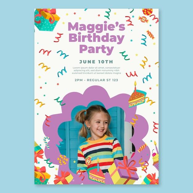 Kinderen verjaardag poster sjabloon Gratis Vector