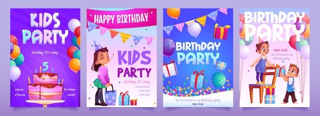 Kinderen verjaardagsfeestje uitnodiging cartoon banners Gratis Vector
