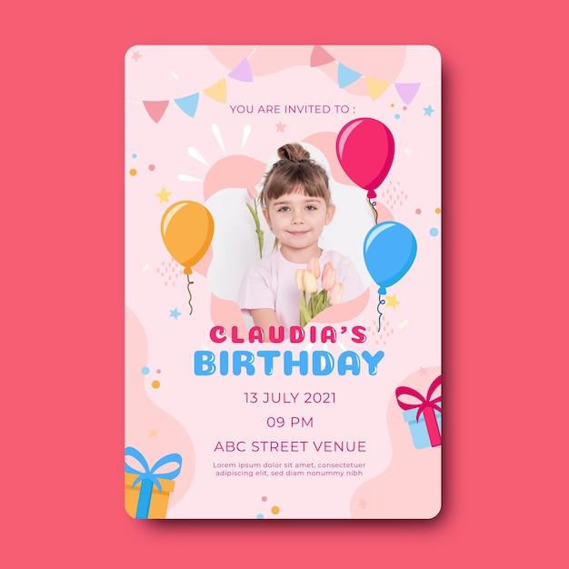 Kinderen verjaardagsuitnodiging sjabloon Gratis Vector