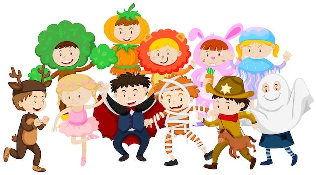 Kinderen verkleden in verschillende kostuums   Gratis Vector