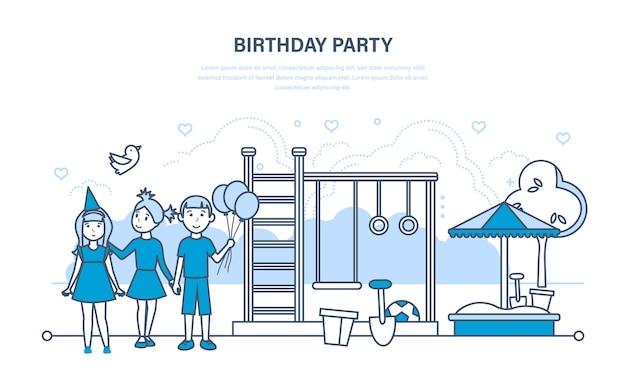 Kinderen vieren feestverjaardag, wandeling in het park en speeltuin. Premium Vector