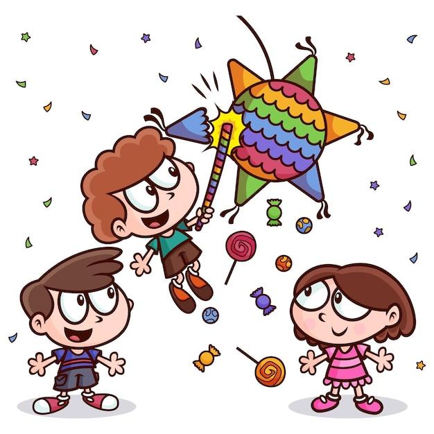 Kinderen vieren posadas Gratis Vector