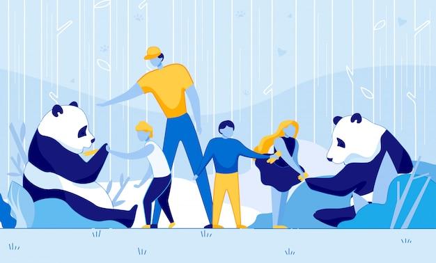 Kinderen voeden zeldzame giant panda bamboo kid help Premium Vector