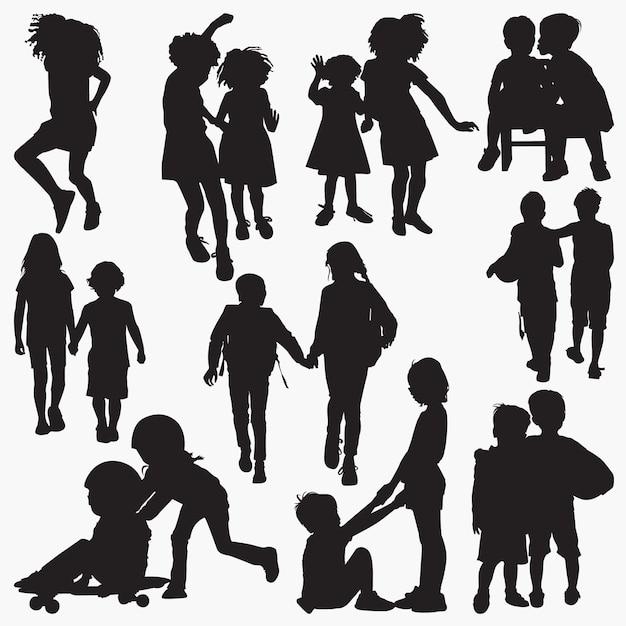 Kinderen vriendschap silhouetten Premium Vector