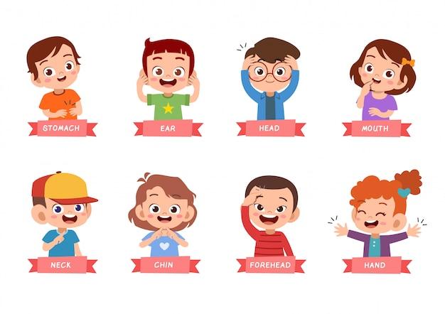 Kinderen wijzend lichaamsdeel set bundel Premium Vector
