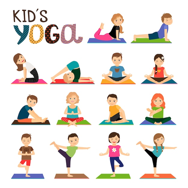 Kinderen yoga vector pictogrammen instellen Premium Vector
