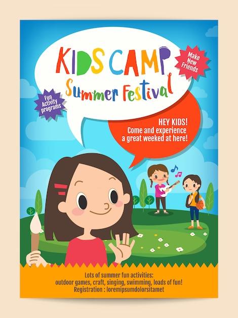 Kinderen zomerkamp onderwijs poster flyer Premium Vector