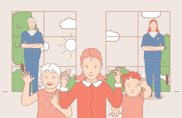 Kinderen zwaaiende handen, man en vrouw in medische uniform staande in de buurt van kids cartoon overzicht illustratie. Premium Vector