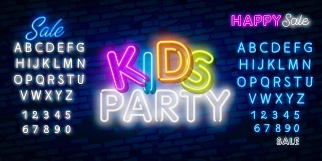 Kinderfeest-neontekst. viering advertentieontwerp. Premium Vector