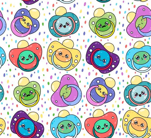 Kinderfopspenen naadloze patroon met schattige kawaii gezichten. tepel pasgeboren kind. apparatuur voor babyverzorging. Premium Vector