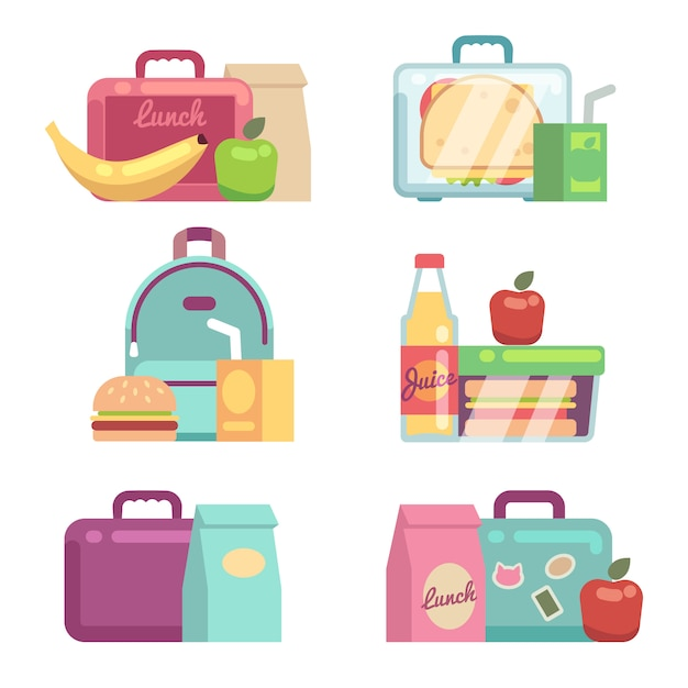 Kinderhapjes. school lunch vakken vector set. container met diner, lunchbox en lunchtijd illustratie Premium Vector