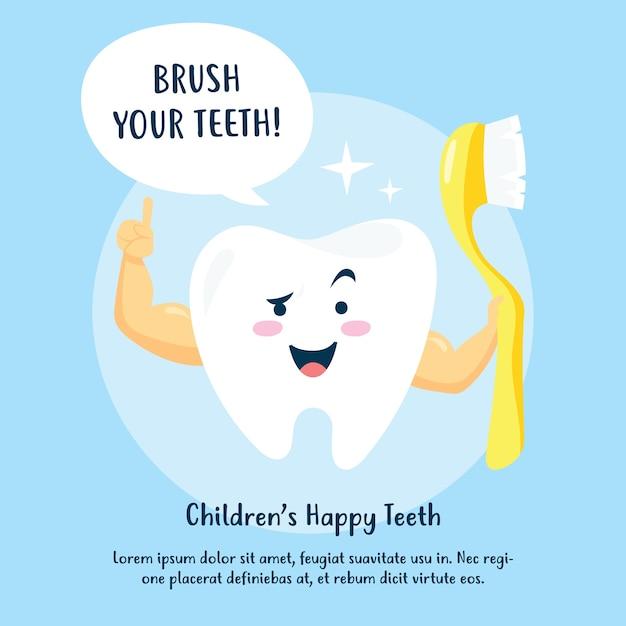 Kinderhygiëne postercampagne. tanden poetsen en mondgezondheid vector posterontwerp Premium Vector