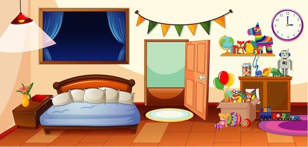 Kinderkamer met veel speelgoedscène Premium Vector