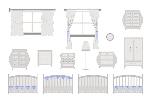 Kinderkamer meubilair Premium Vector