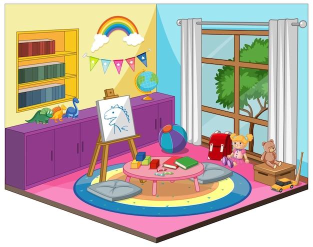 Kinderkamer of kleuterschool kamer interieur met kleurrijke meubelelementen Premium Vector