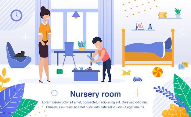 Kinderkamer schoonmaak platte banner, poster Premium Vector
