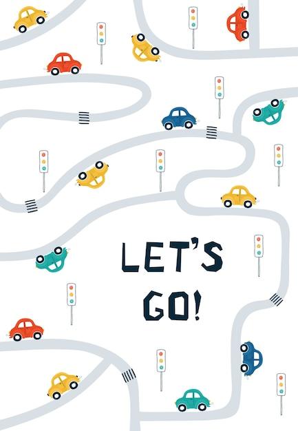 Kinderposters met auto's, wegenkaart en belettering let's go in cartoonstijl. Premium Vector