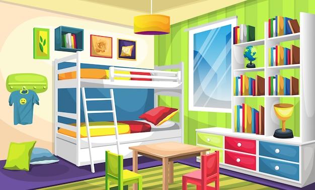 Kinderslaapkamer met stapelbed, bureau met boeken en trofee, plafondlampen, muurfoto, hangers, bed en kussen Premium Vector