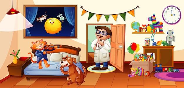 Kinderslaapkamer met veel speelgoed en honden- en kattentafereel Premium Vector