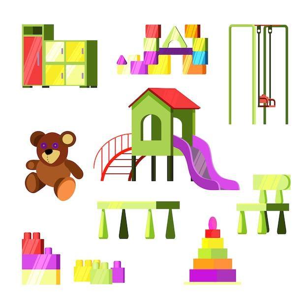 Kinderspeelgoed en speeltuinenset Gratis Vector