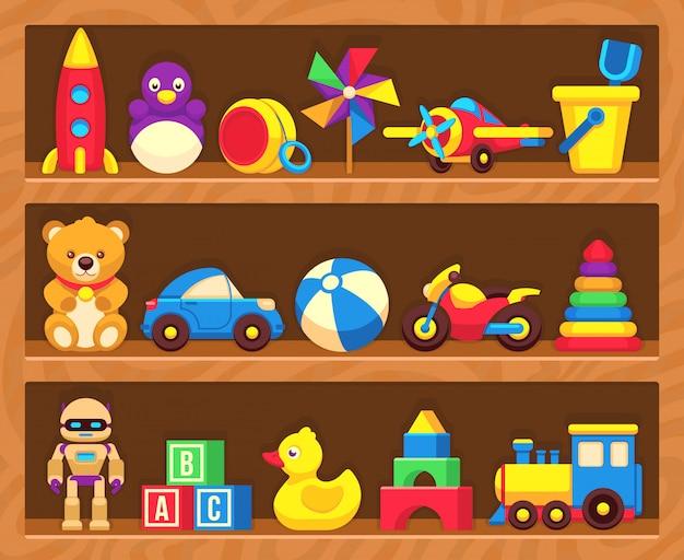 Kinderspeelgoed op houten winkelplanken Premium Vector