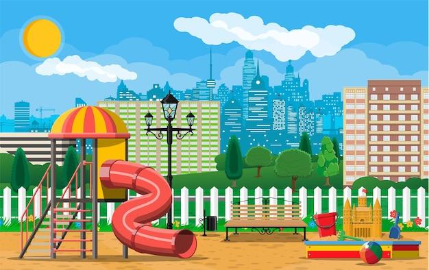 Kinderspeelplaats kleuterschool panorama. stedelijk kindervermaak. Premium Vector