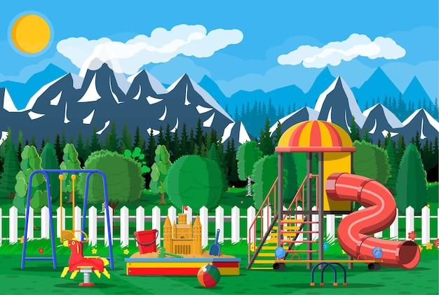 Kinderspeelplaats kleuterschool panorama. Premium Vector