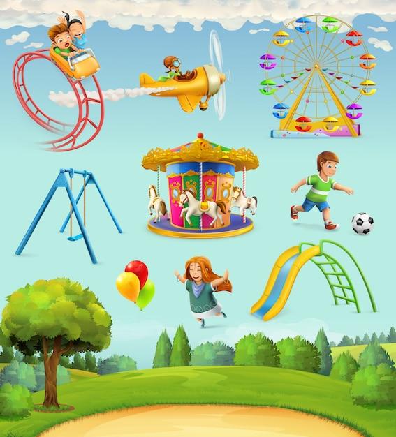 Kinderspeelplaats, set ofs Premium Vector