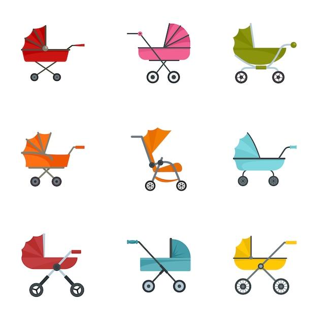 Kinderwagen icon set, vlakke stijl Premium Vector