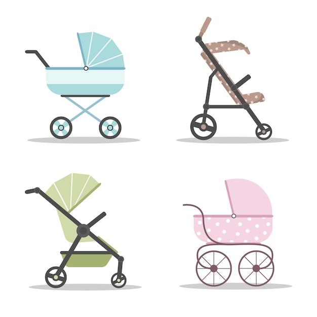 Kinderwagens pictogramserie. kleurrijke kinderwagens op witte achtergrond. Premium Vector