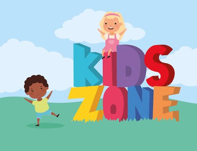 Kinderzone met interraciale kindergroep in het veld Premium Vector